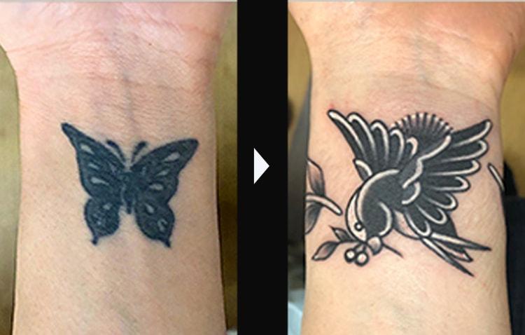 蝶から燕へのカバーアップ