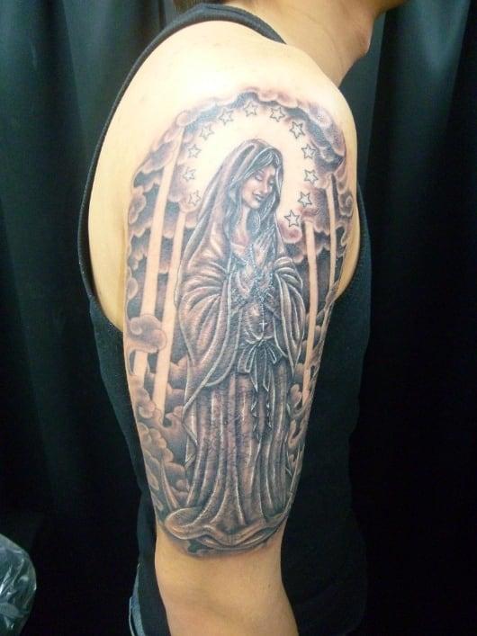 ブラック&グレー 聖母マリア像・ロザリオ・腕