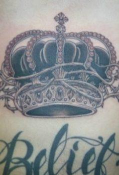 ブラック&グレー 王冠・crown・レター・腹