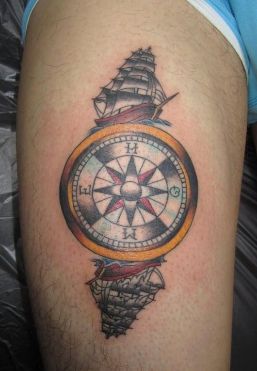 カラー 船 コンパス(方位磁針、羅針盤)