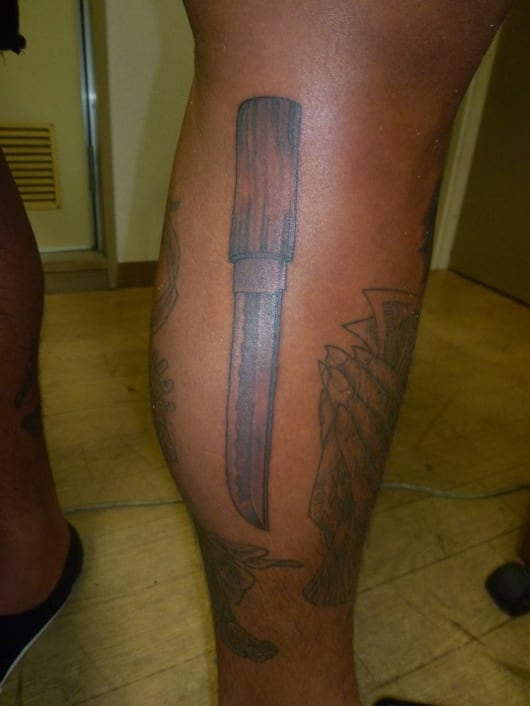 ブラック&グレー ドス 短刀