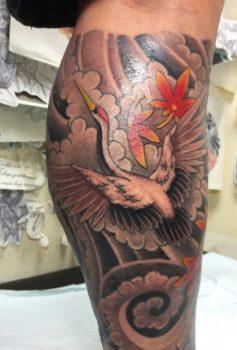 和彫り 鶴