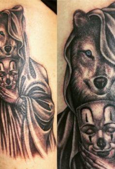 ブラック&グレー 狼 マスク