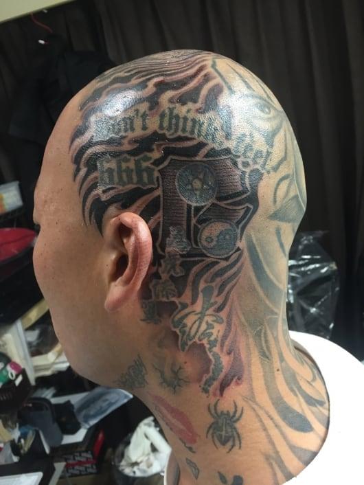 ブラック&グレー head tattoo