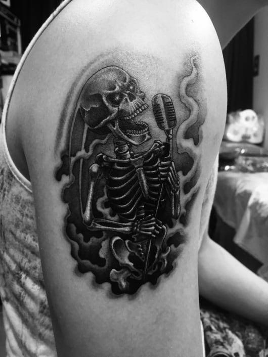 ブラック&グレー skull mic スカル シンガー