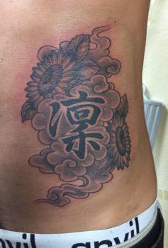 和彫り 漢字 雲 花