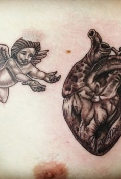 ブラック&グレー 天使 心臓