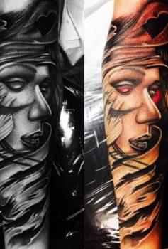 ブラック&グレー 女性顔