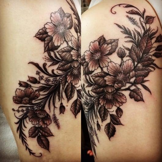 ブラック&グレー 花 葉