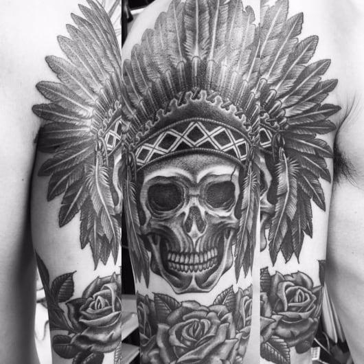 ブラック&グレー indian skull