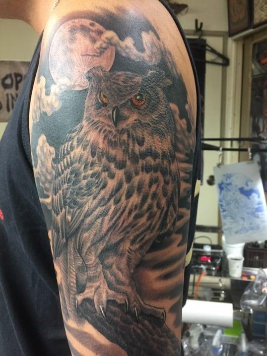 ブラック&グレー フクロウ owl