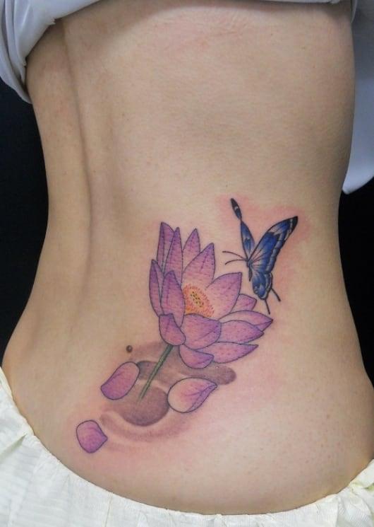 カラー 蓮 蝶